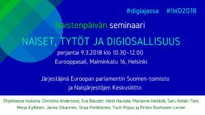 2018 naiset, tytot ja digiosallisuus, 9.3.2018